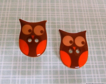 Repurposed Button Owls Post Earrings With Nickel Free Backs