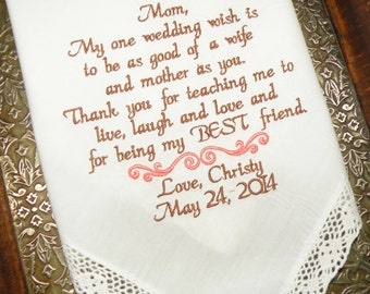 Give mom a wedding day gift that last a lifetime Mother of the Bride Wedding Gift Embroidered Wedding Handkerchief By Canyon Embroidery