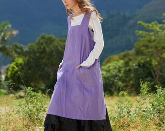 Linen Pinafore Apron, square Cross Linen Apron, linen dress, linen apron, linen pinafore, lilac Long Linen Apron, linen tunic, tunic dress