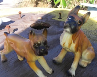 Vintage Boxer dogs made in Japan. Ceramic dogs. 50s.