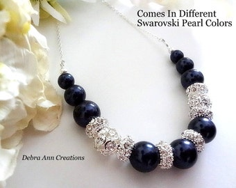 Navy Blue Pearl Necklace Dark Blue Bridal Necklace Navy Wedding Jewelry For Bride Necklace Navy Bridesmaid Necklace For Mother of the Bride