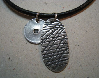 Unisex Rustic Gaming Pieces Oxidized Fine Silver Necklace 2 Piece - Unisex Necklace - Archaeology