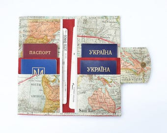 Document travel etsy family travel wallet 4 6 8 10 passport case family passport holder family travel document organizer boarding pass holder world map gumiabroncs Image collections