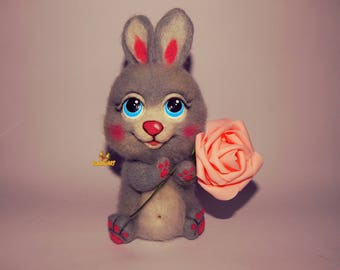 Needle Felted Easter Bunny,needle felted rabbit, felted animal, Needle Felted Bunny Easter Bunny, Rabbit, Easter gift ready to ship