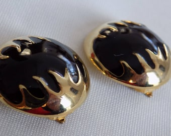 Vintage earrings, black enamel and golden flames modernist  clip-on earrings, retro jewelry