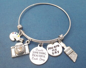 Create SOMETHING BEAUTIFUL Each Day, You are my bay, Cubic, Lens, Camera, Brush, Palette, Silver, Bangle, Daphne, Bay, Gift, Jewelry