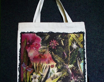 Botanical garden print with metallic highlights on a canvas tote.