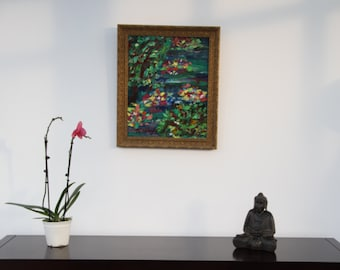 Framed original abstract palette knife on canvas _ flowers and nature