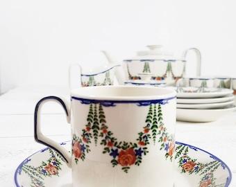 RARE service à café pour les adultes, Villeroy et Boch Vintage, ensemble de Pot à café, service à café Vintage, tasses en céramique et soucoupe Set, service à café Vintage
