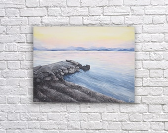 Greece -Sunset Seascape - Original Acrylic Painting on Canvas, /12x16 in/, unframed