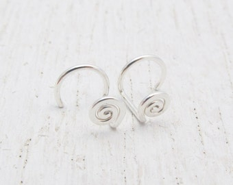 Small Spiral Stud Earrings / No Back Studs / Argentium Sterling Silver Earrings / Eco-Friendly Earrings / Coil Posts / Minimalist / 102108