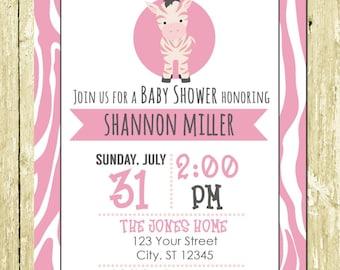 Pink Zebra Safari Printed Baby Shower Invitations
