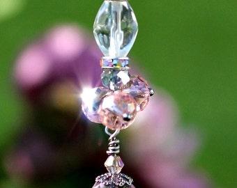 Crystal Car Charm - Pink Beaded Suncatcher - Crystal Prism Sun catcher - Pink Crystal Ornament - Pink Fan Light Pull