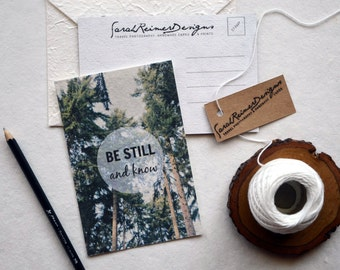 Nature Postcard on Handmade Eco Friendly Mulberry Paper, England Travel Photography, Be Still and Know Inspirational Quote- with envelope