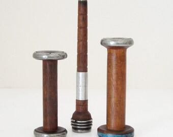 Three Small Vintage Wood Thread Spools Bobbins
