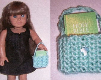 """American Girl Bitty Bible & Tote (Light Green) ~ for any 16"""" or 18"""" doll ~ Genuine Shell Cross ~ Best Selling Item"""