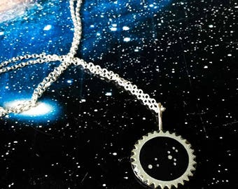 Leo constellation necklace, Leo star sign pendant, handmade star sign necklace, contemporary zodiac pendant, August birthday necklace