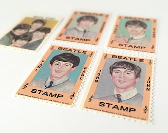 1964 Beatles Memorabilia, Hallmark Postage Stamps, 60s Music Mother's Day Gift, John, Paul, George, Ringo, Fab Four Collectible Stamp Set