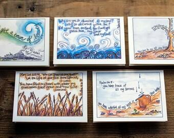 Scripture Cards - Hope, Set 5 - Illustrated Scipture, Bible Verse Illustration, Christian Sympathy Card - Assorted Set of 5