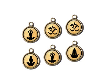 6 Yoga Zen Om Handcrafted Glass Charm