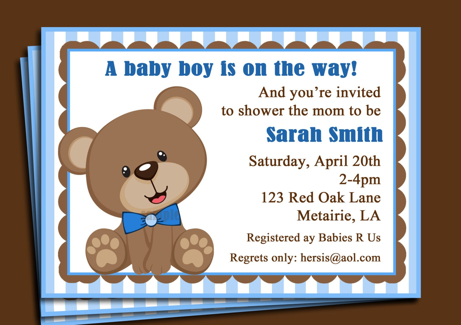 Blue Teddy Bear Invitation Printable or Printed with FREE