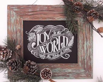 Joy To The World Chalkboard Print, Giclee Print, Christmas Chalkboard, Holiday Wall Decor, Holiday Chalkboard Print, Rustic Christmas Sign