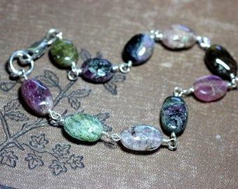 Bracelet tourmaline rose et vert pierres précieuses fil enroulé Bracelet en argent Sterling bijoux rustique Luxe