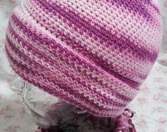 Varigated pink crochet brimmed hat