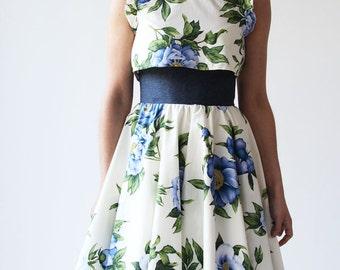 High waisted circle skirt, swing skirt, full skirt, below knee skirt,