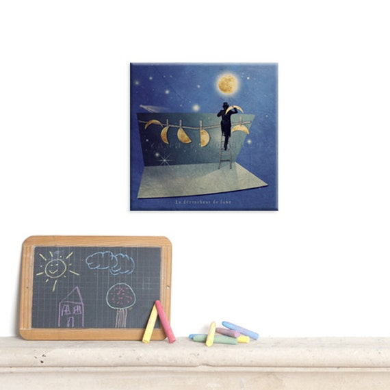 Canvas Gallery Wrap, Wall Art Canvas, Photo Canvas Prints, I love you to the moon and back, Moon and stars room decor, Fun print, birth gift