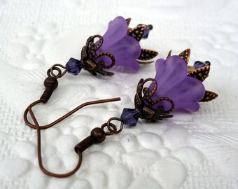 Lucite Flower Dangle Earrings Vintage Style - Copper - Purple - Wedding