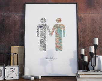 Take My Hand - Guy & Guy / Gay Wedding Marriage Engagement Anniversary Print Wall Art Gift Sale