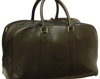 Leather Travel Bag in Black made of Genuine Italian Leather - Leather Bag - Laptop Bag - Leather Briefcase - Mens Gift