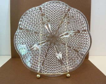 Glass Bowl, 4 Footed, Clear, Hobnail, Teardrop Design, Curved Octagon Shape