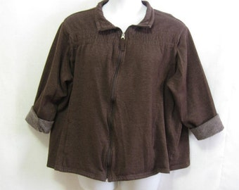 Vintage Womens 3X Brown Zip Front Sweatshirt with Gathers Above Chest has Pockets Soft Very Nice See Details