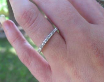 Silver Diamond Band, Silver Wedding Band, Silver Stacker Ring, Silver Diamond Stacking Band, Thin Diamond Band, Silver Diamond Ring