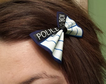 Doctor Who TARDIS Hair Bow Mini Clip