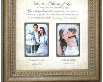Personalized Wedding Photo Frame, Mother of the Bride Gift, Parents Thank You Gift, Parents of the Bride, Personalized Wedding Gift, 16 X 16