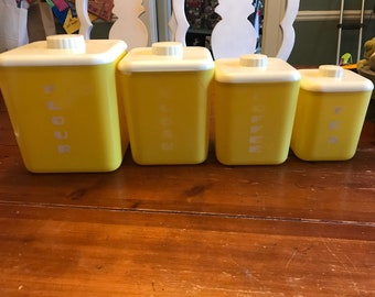 Yellow Cols. plastics cannister set   Vintage  mid century  flour sugar tea coffee