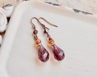 Nonie - amethyst and copper teardrop earrings - purple earrings - amber - copper