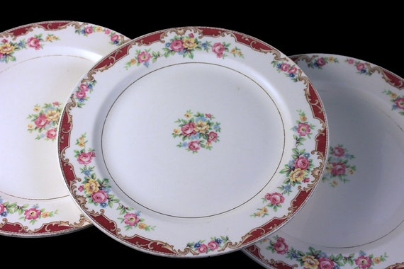 Salad Plates, Edwin Knowles, Lido, Set of 3, Pink Rose Floral, Fine China