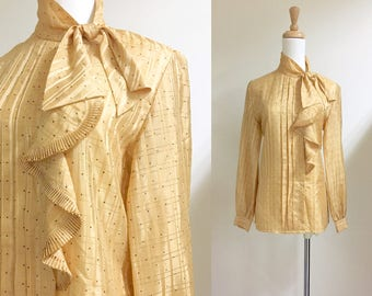 Gold ruffle front neck tie blouse s/m