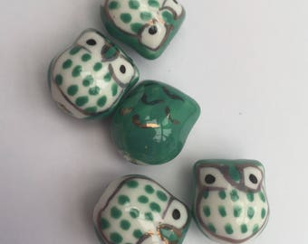 Set of 5 handmade porcelain turquoise owl beads.