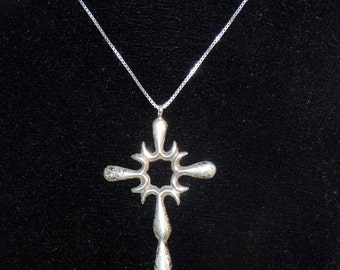 30 inch Italian Sterling Silver Chain with Large Cross Pendant
