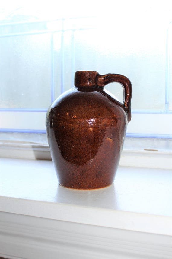Antique Brown Stoneware Jug Roycroft Shops
