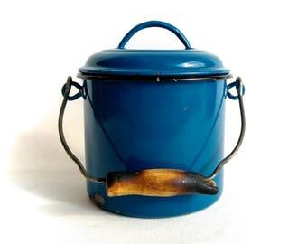 Rustic Kitchen Decor, Vintage Enamel Pot, Blue Kitchen Decor, Made in Yugoslavia