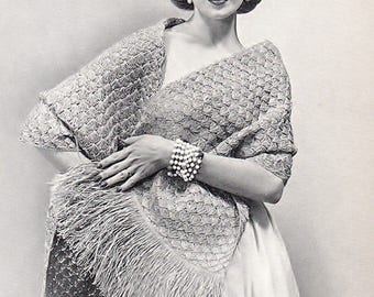 Ladies Shawl With Fringe, Crochet Pattern. Instant Download.
