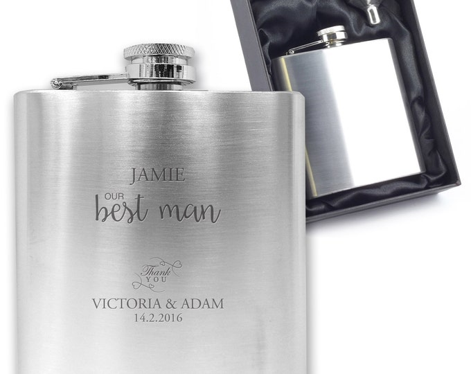 Personalised engraved BEST MAN hip flask wedding gift, best man gift stainless steel presentation box - TITL1