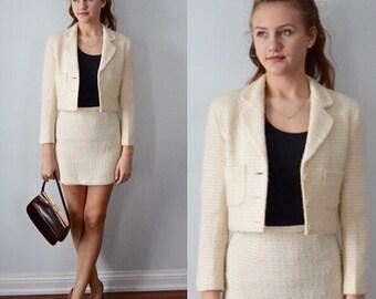 Vintage Skirt Suit, Net International, 1970s Skirt Suit, Mini Skirt and Cropped Jacket, Cream Wool Blend Skirt Suit, Ladies Suit