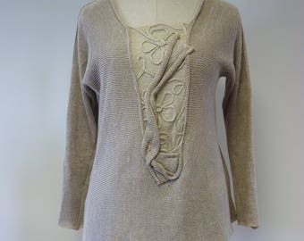 Casual taupe  sweater, L size. Made of pure linen.